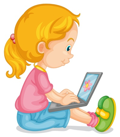 using: illustration of a girl and laptop on a white Illustration