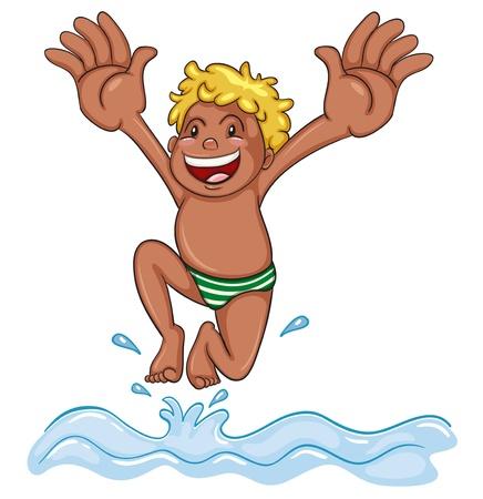 illustration d'un garçon plongée dans l'eau sur un fond blanc