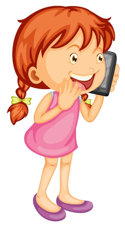 Talking on the phone: illustration of a girl talking on mobile on a white background Illustration