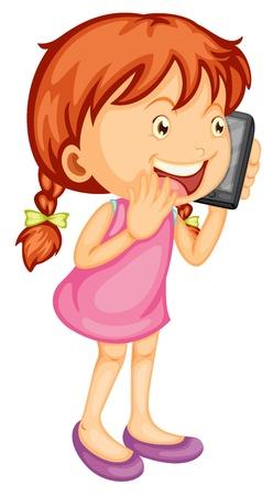 donna con telefono: illustrazione di una ragazza parlando sul cellulare su uno sfondo bianco