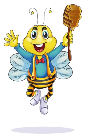 animal leg: ilustraci�n de la abeja de la miel en un fondo blanco Vectores