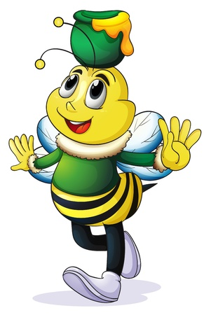 illustration of honey bee on a white background Vector