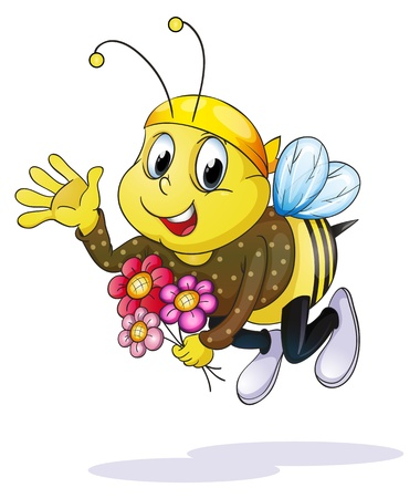 wasp: illustration of honey bee on a white background