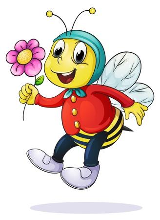 ilustración de la abeja de la miel en un fondo blanco Vectores