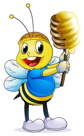 bumble: illustration of honey bee on a white background