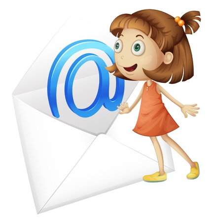 envelop: illustration of a girl and mail envelop on a white background