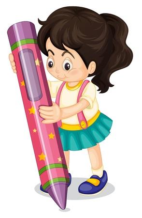 niños pintando: Ilustración de una niña con un lápiz sobre un fondo blanco