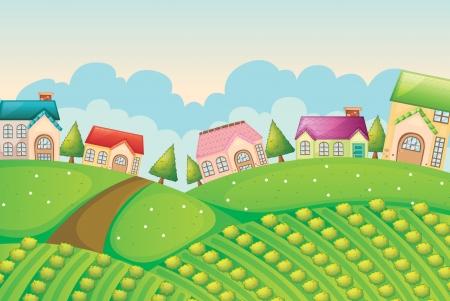 haus garten: Darstellung einer Kolonie von H�usern in der Natur