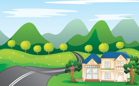 illustration of a houses in beautiful nature Vector