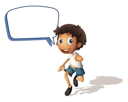 niÑos hablando: ilustración de un niño y en voz alta sobre un fondo blanco