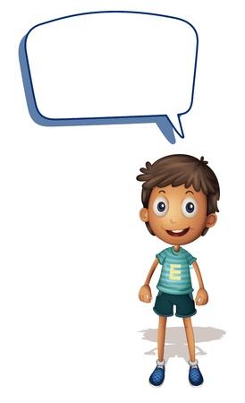 Illustrazione di un ragazzo e chiamare su uno sfondo bianco Vettoriali