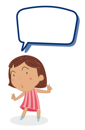 call out: illustration of a girl and call out on a white background