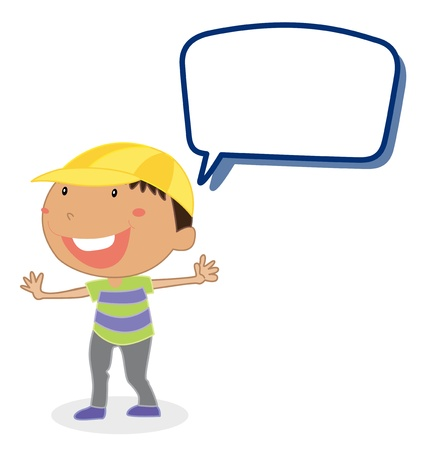 call out: illustration of a boy and call out on a white background Illustration