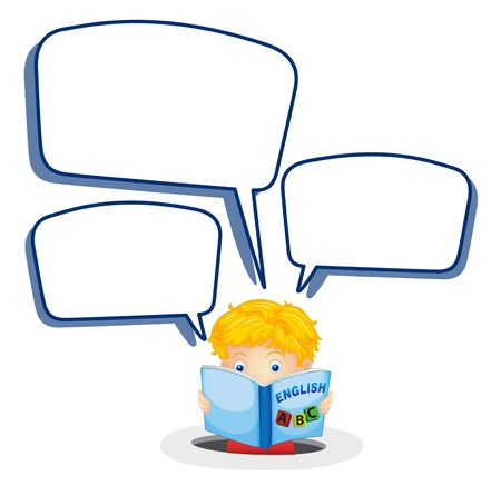 speak english: illustration of a boy and call out on a white background Illustration