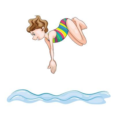 picada: ilustraci�n de una chica de buceo en el agua sobre un fondo blanco