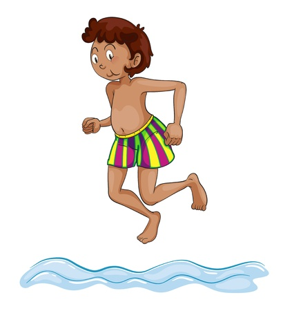 young boy beach: illustration of a boy diving into water on a white background