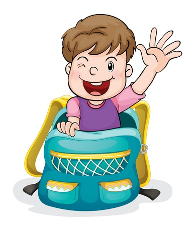 1 school bag: illustration of a boy in the school bag on a white background
