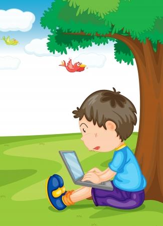 Ilustracja chłopiec i laptop pod drzewem