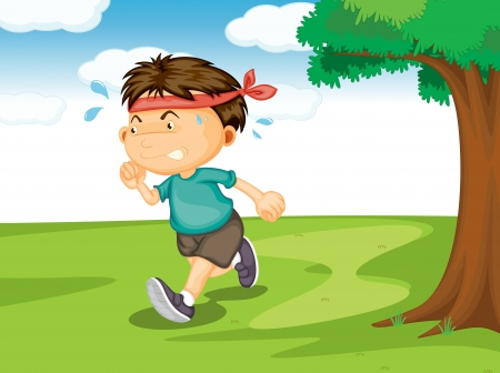 jogging park: illustration of a boy running outside in the nature