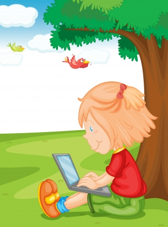 child sitting: illustration of a girl and laptop under the tree