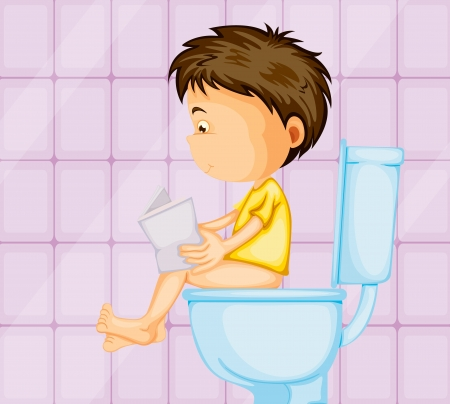 excretion: illustration of a boy sitting on western commode in toilet Illustration
