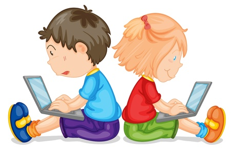 two children: illustration of kids with laptop on a white background Illustration