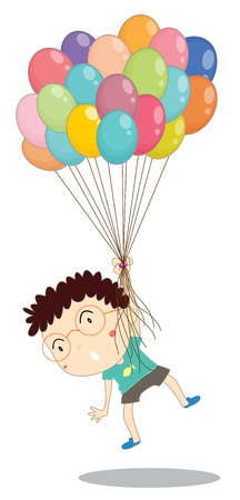 flying float: illustration of a boy with balloons on a white background