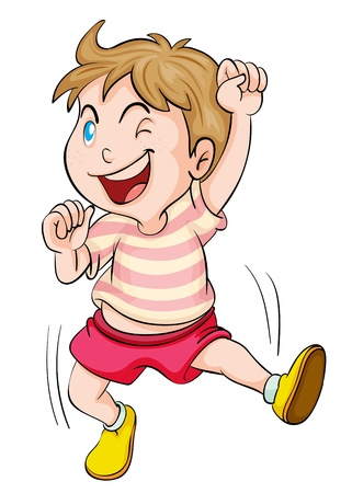 illustration of a boy cheering on a white background