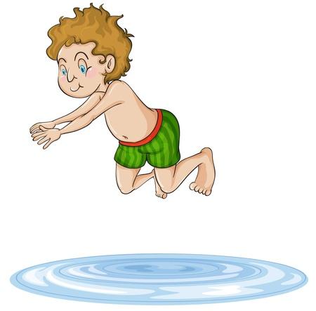 enfant maillot de bain: illustration d'un gar�on plong�e dans l'eau sur un fond blanc