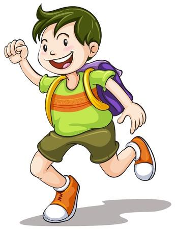 cartoon jongen: illustratie van een jongen met schooltas op een witte achtergrond