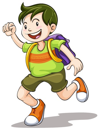 1 school bag: illustration of a boy with school bag on a white background Illustration
