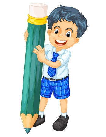 illustration of a boy and pencil on a white background Vector