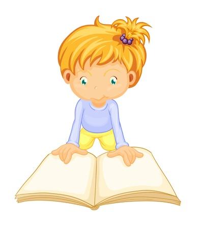 libro de cuentos: ilustraci�n de un libro de lectura de la chica sobre un fondo blanco