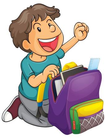 school bag: illustrazione di un ragazzo con zaino su uno sfondo bianco