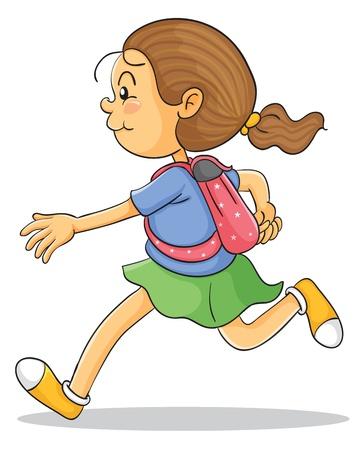 school bag: illustrazione di una ragazza con zaino su uno sfondo bianco