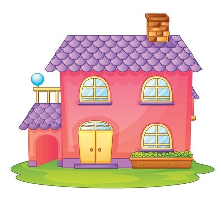 haus garten: Abbildung eines Hauses auf einem wei�en Hintergrund Illustration