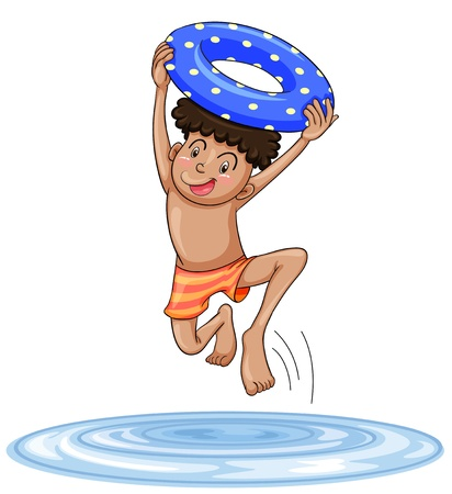 happy kids playing: illustration of a boy diving into water on a white background