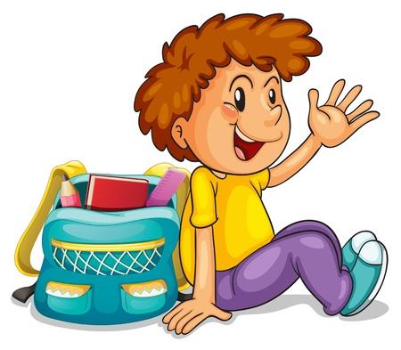 gente sentada: Ilustración de un muchacho con el bolso de escuela en un fondo blanco