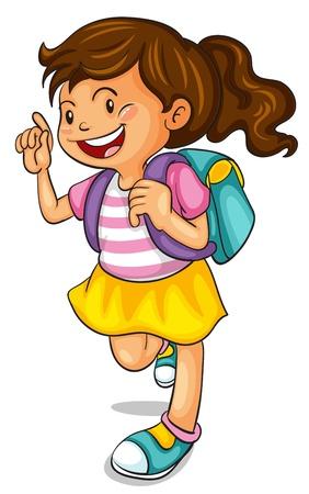 sac d ecole: illustration d'une fille avec le sac d'�cole sur un fond blanc