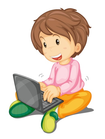 illustration of a girl and laptop on a white Illustration