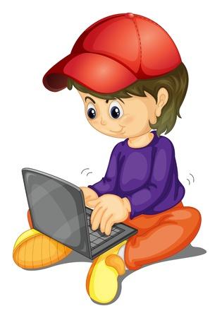 niños platicando: ilustración de una chica y un ordenador portátil sobre fondo blanco