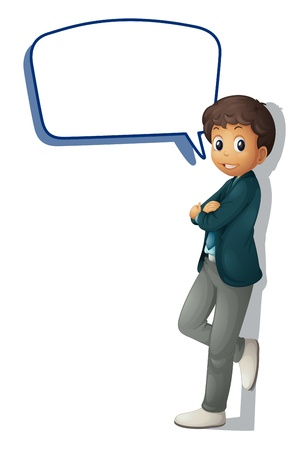 illustration of a boy and call out on a white background Vector