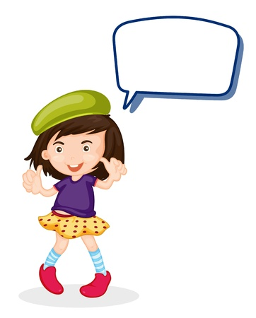 speak out: illustration of a girl and call out on a white background