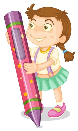 illustration of a girl with pencil on a white background Stock Vector - 14871421