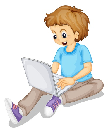 sitting on the ground: illustration of a boy and laptop on a white Illustration