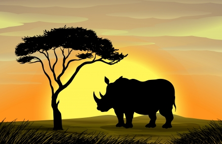 тундра: иллюстрация носорог стоял под деревом