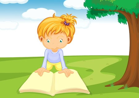 kids reading book: illustration of a girl reading book under the tree Illustration