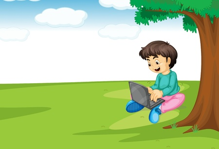 illustration of a boy and laptop under a tree Vector