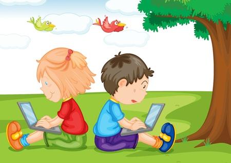 assis par terre: illustration de gosses avec un ordinateur portable sur un fond blanc