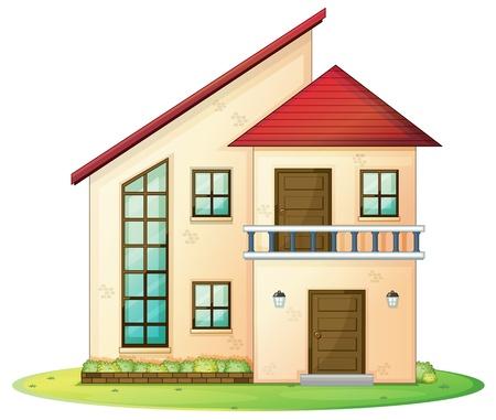 balcony door: Ilustraci�n de una casa sobre un fondo blanco